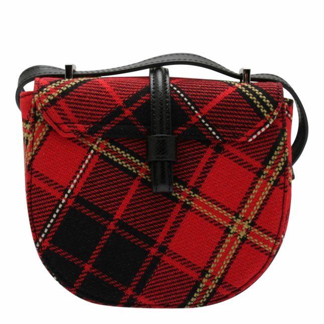 Womens Red Tartan Special Sofia Saddle Crossbody Bag