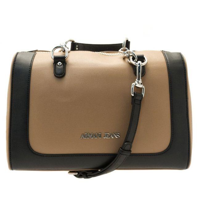 Womens Warm Sand & Black Colour Block Bowler Bag