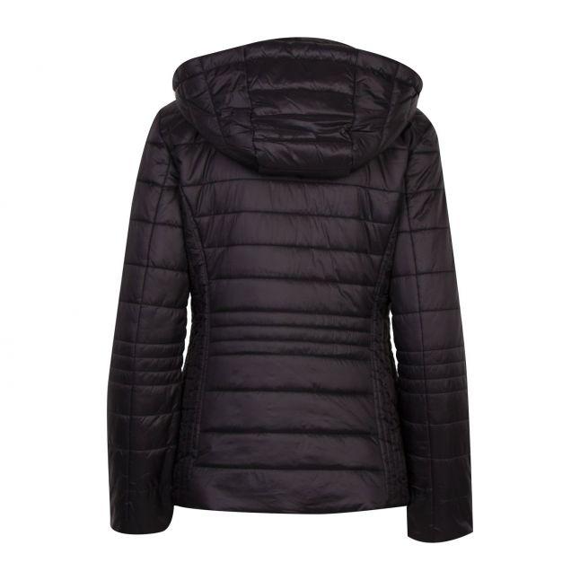 Womens Black/Rose Gold Branded Padded Hooded Jacket