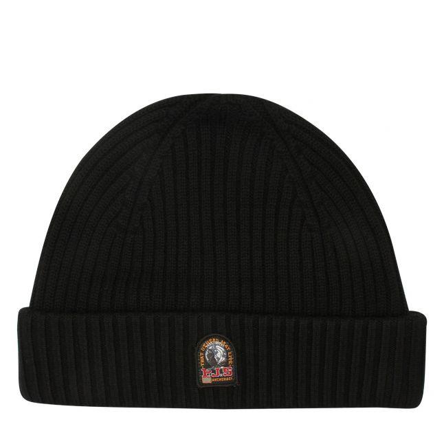 Mens Black Branded Rib Hat