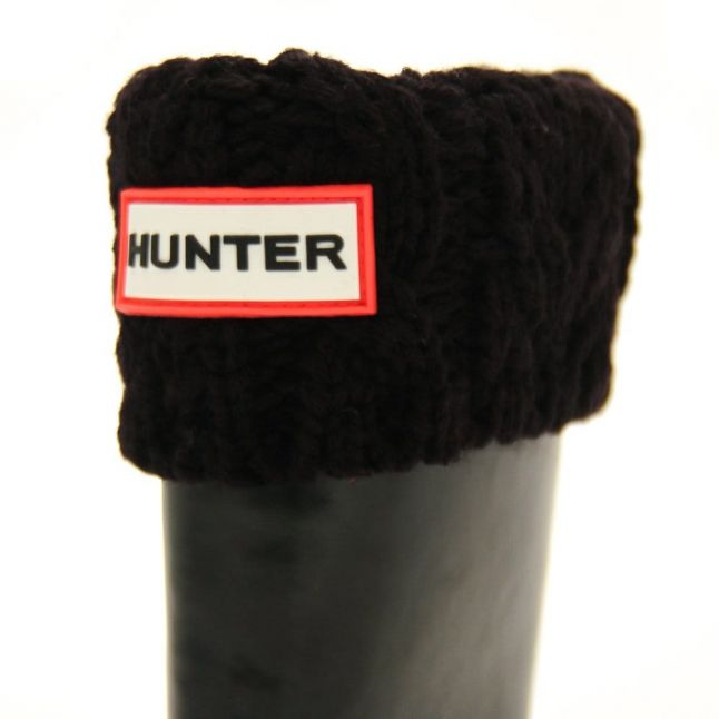 Kids Black Dual Cable Knit Wellington Socks (4-6 - 3-5)