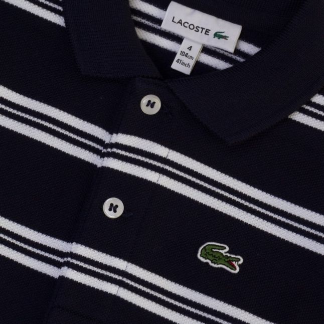 Boys Navy Striped L/s Polo Shirt