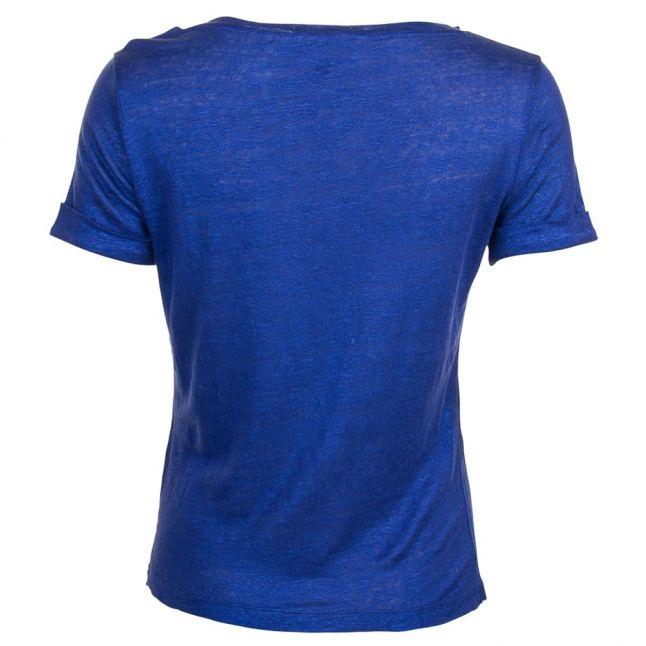 Womens Blue V Neck S/s Tee Shirt