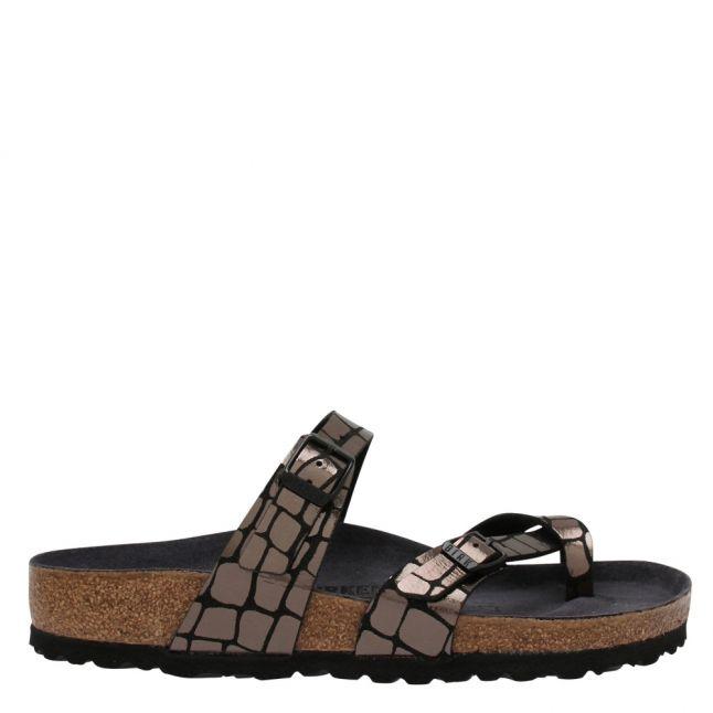 Womens Black Mayari Gator Gleam Sandals