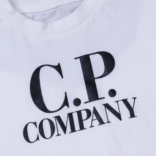 Boys White Back Print L/s Tee Shirt
