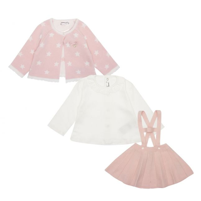 Baby Rose 3 Piece Knitted Pinafore Set