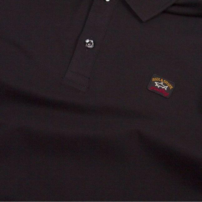 Mens Black Classic Logo Custom Fit L/s Polo Shirt