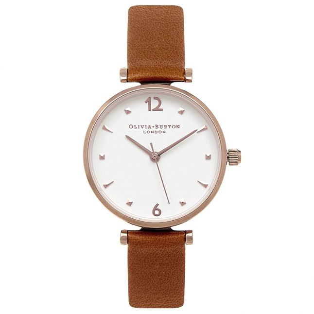 Womens Tan & Rose Gold Modern Vintage T-Bar Watch