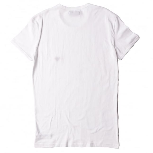 Mens White Back Print Crew S/s Tee Shirt