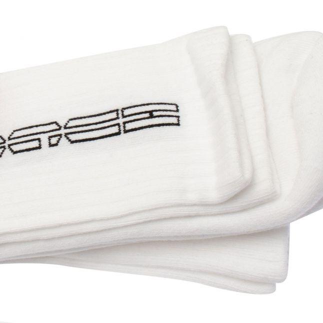 HUGO Mens White Rib Piano 2 Pack Socks