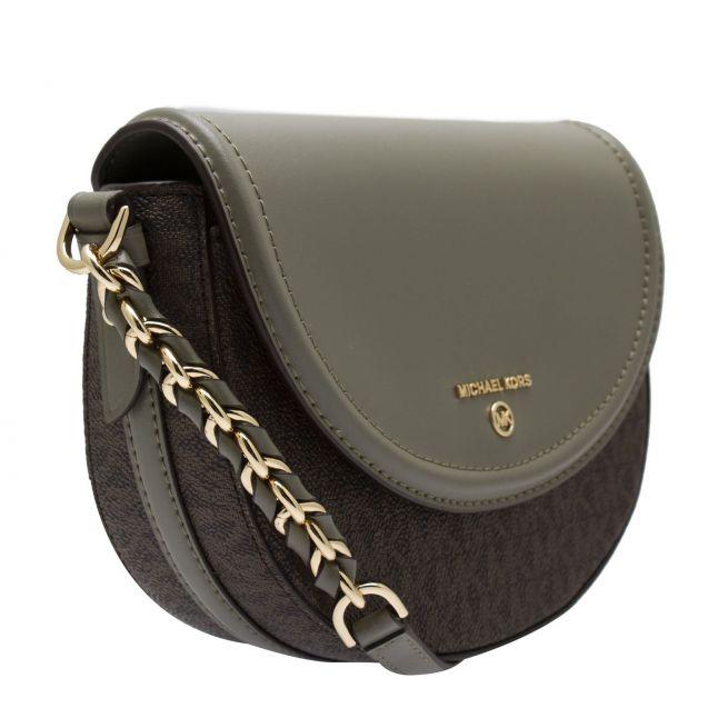 Michael Kors Womens Army Green Half Dome Chain Crossbody Bag