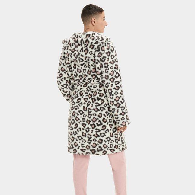 Womens Cream Leopard Aarti Hooded Sherpa Robe