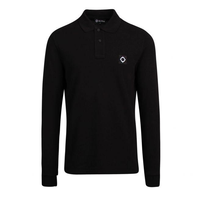 Mens Jet Black Pique L/s Polo Shirt