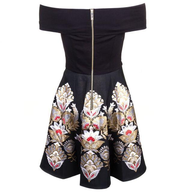 Women Black Airlo Opulent Orient Bardot Dress