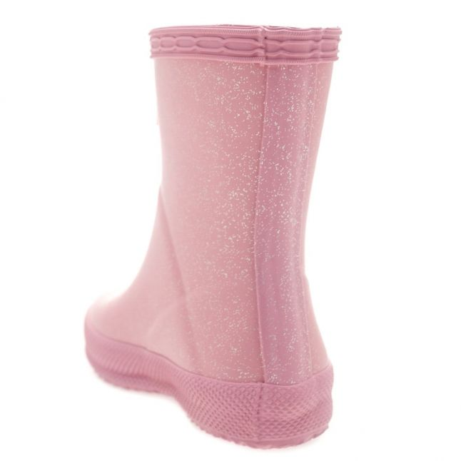 Kids Fondant Pink First Glitter Wellington Boots (4-7)