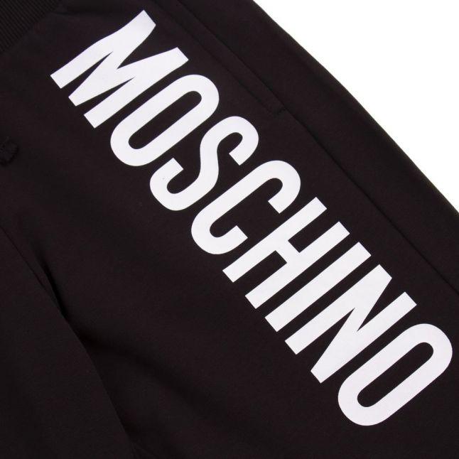 Boys Black Branded Sweat Shorts