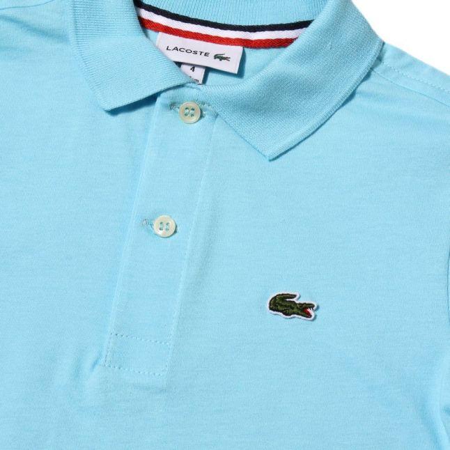 Boys Azurine Blue Jersey S/s Polo Shirt