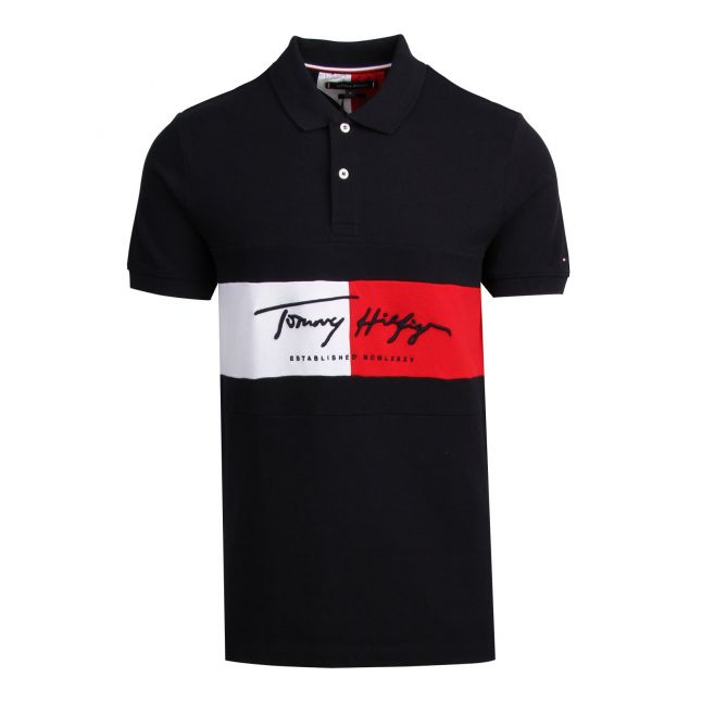 Tommy Hilfiger Mens Desert Sky Autograph Flag Slim Fit S/s Polo Shirt