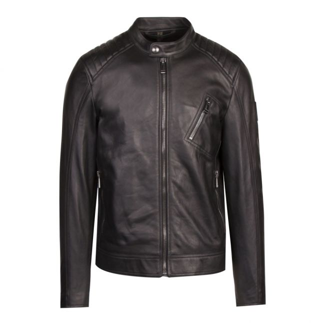 Mens Black V Racer Leather Jacket