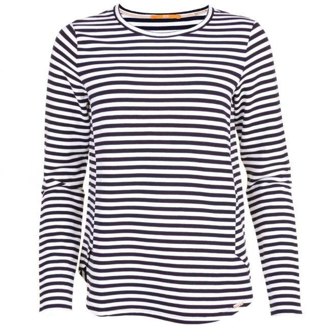 Womens Navy & White Terstripe L/s Tee Shirt