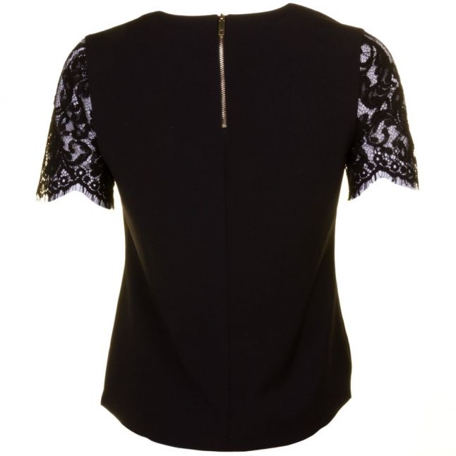 Womens Black Jessin Lace Sleeve Top