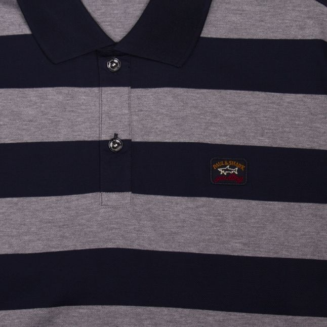 Mens Navy/Grey Classic Stripe Custom Fit S/s Polo Shirt