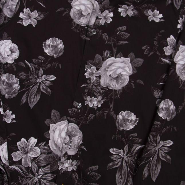 Mens Black Eclair Floral L/s Shirt