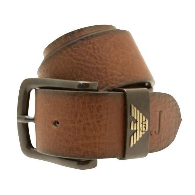 Mens Cognac Leather Branded Belt