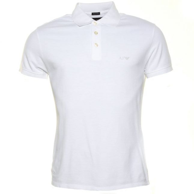 Mens White Muscle Fit S/s Polo Shirt