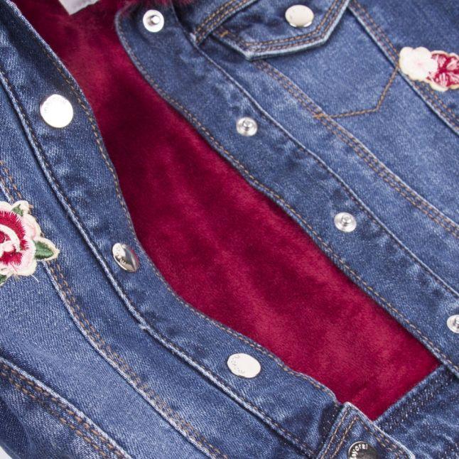 Girls Dark Blue Faux Fur Collar Denim Jacket