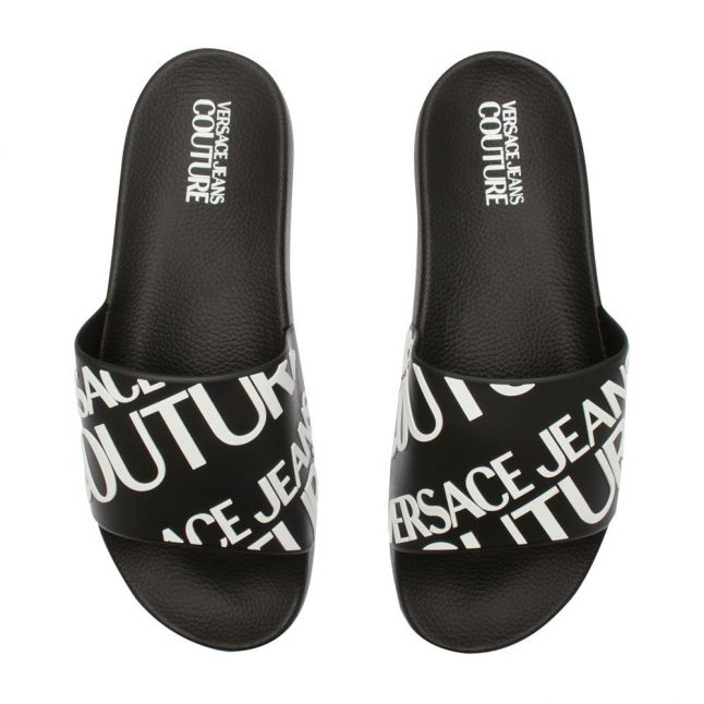 Mens Black Branded Logo Slides