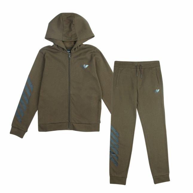 Boys Khaki Branded Eagle Hooded Tracksuit