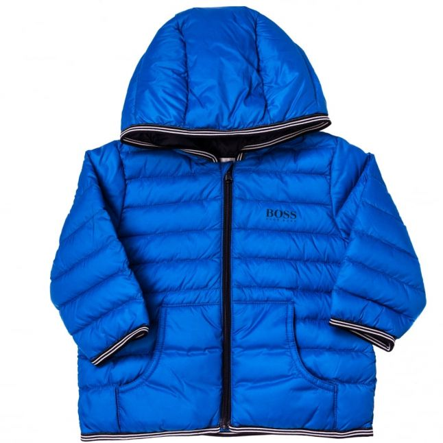 Baby Turquoise Branded Hooded Puffer Jacket