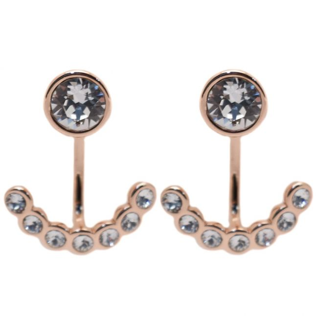 Womens Rose Gold & Clear Coraline Concentric Crystal Earrings
