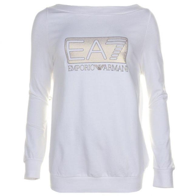 Womens White Training Logo Series Caviar Sweat Top