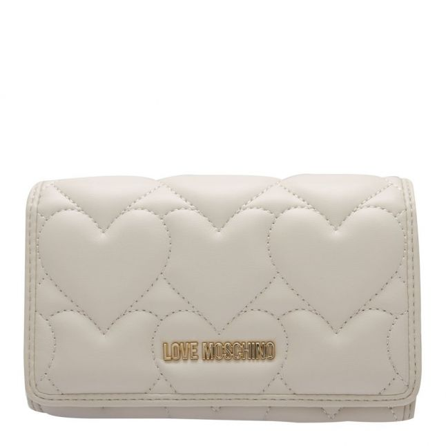 Womens Ivory Heart Quilted Medium Wallet