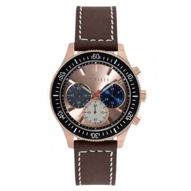 Mens Rose Gold Dial Chronograph Brown Leather Strap Watch