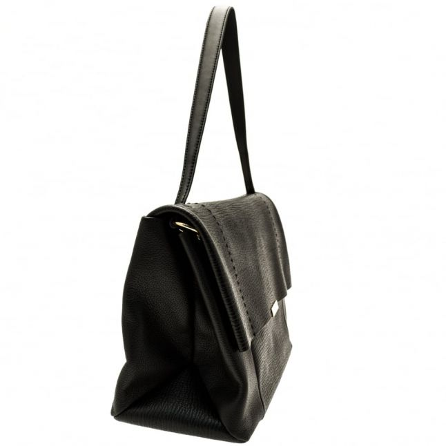 Womens Black Proter Unlined Soft Leather Shoulder Bag
