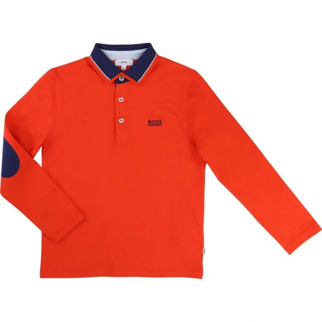 Boys Red Contrast Collar L/s Polo Shirt