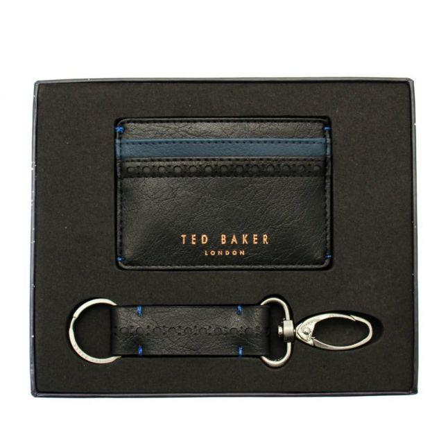 Mens Black Card Holder & Keyring Set
