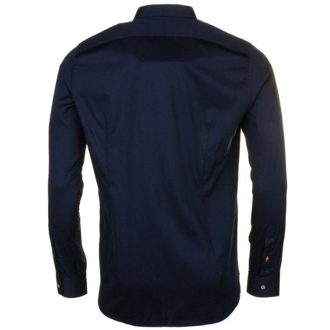 Mens Navy Algravy Satin Stretch L/s Shirt