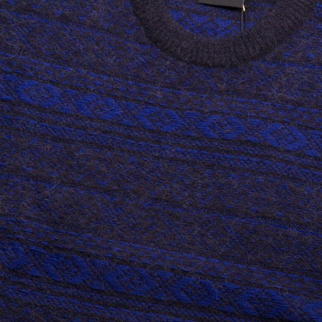 Mens Navy Alpaca Wool Mix Knitted Jumper
