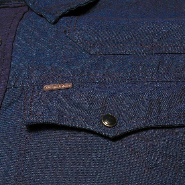 Mens Rinsed Wash 3301 Ink Denim Slim Fit L/s Shirt