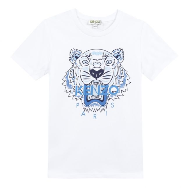 Boys White/Blue Tiger S/s T Shirt