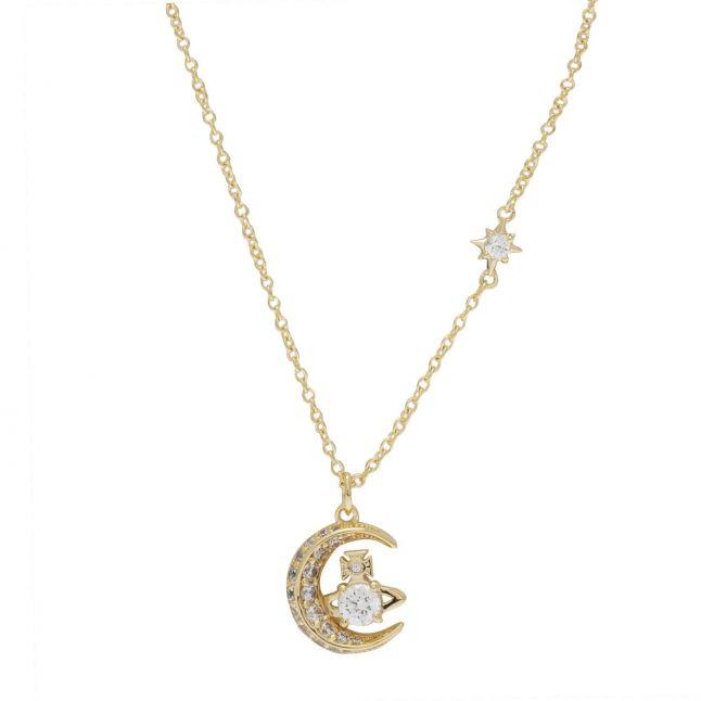 Womens Gold/White Dorina Moon Pendant Necklace