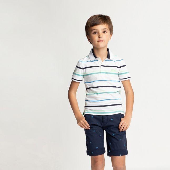 Boys White/Green Multi Stripe S/s Polo Shirt