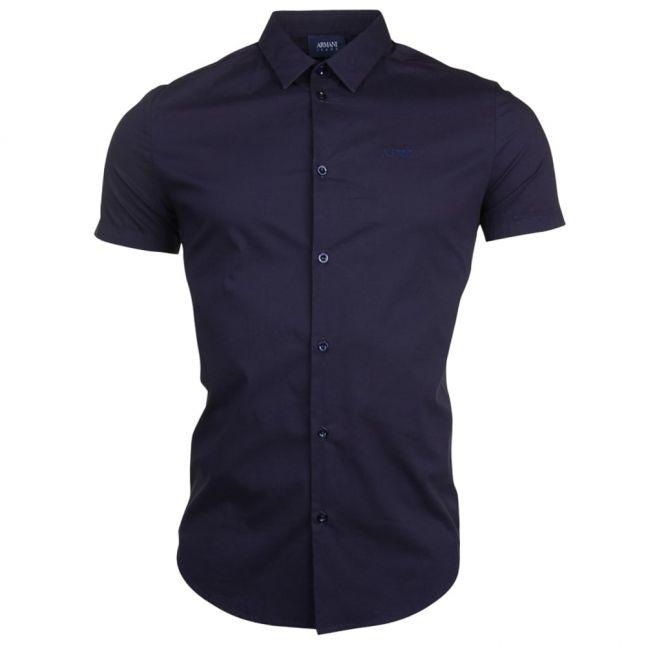 Mens Blue Slim Fit S/s Shirt