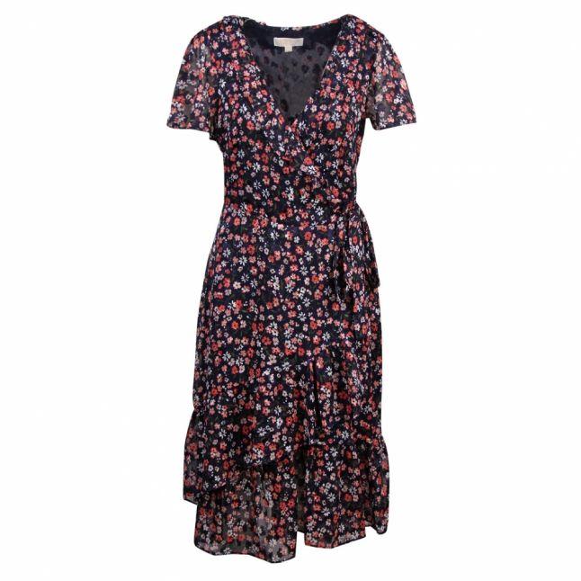 Womens Navy/Coral Garden Patch Burnout Wrap Dress