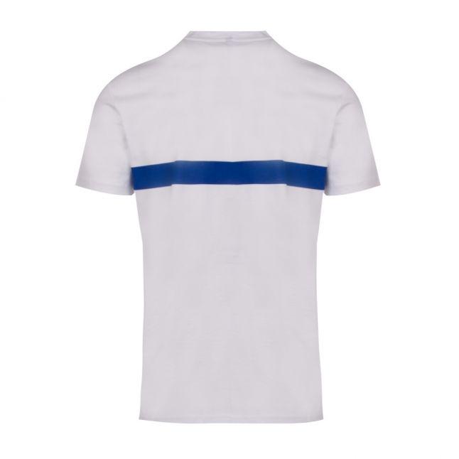 Mens White/Blue Logo Stripe Slim Fit Beach S/s T Shirt