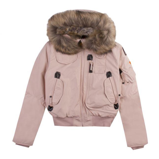 Girls Powder Pink Gobi Down Fur Hooded Jacket